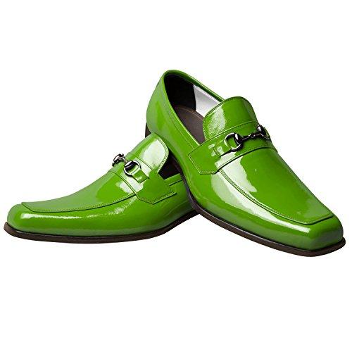 Itailor Handgemaakte Schoenen Voor Heren: Groen Lakleder Met Lederen Veter Groen Patent