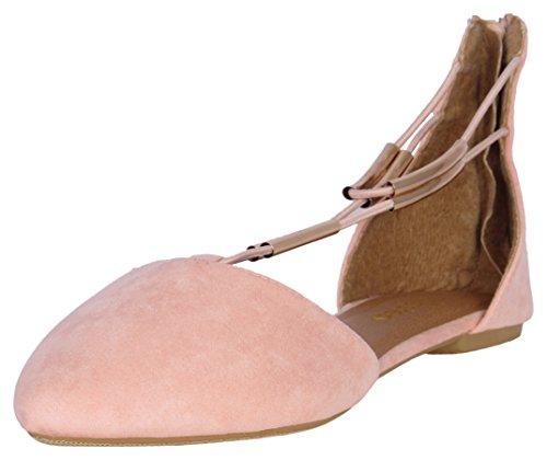 Epic Step Women's T-Strap Micro Suede Dress Flats Blush