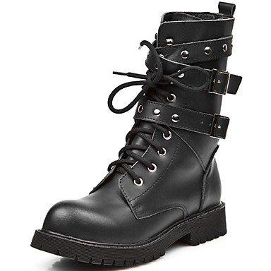 botas Ue39 Noche cuero US6 Casual RTRY Nappa mujer moda Zapatos 7 5 invierno 5 CN40 para botas botas otoño Negro parte Mid EU37 Uk6 Calf 5 UK4 amp;Amp; de CN37 5 Us8 5 v11twT
