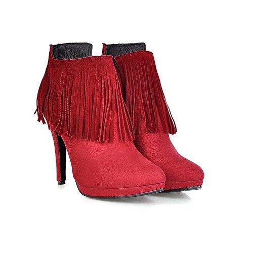 Adeesu Flickor Tofsar Mule Stilett Imiterade Läderstövlar Rött