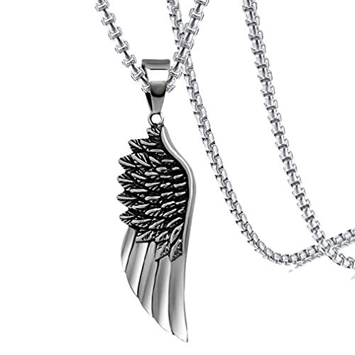 Xusamss Hip Hop Titanium Steel Angel Wing Pendant Necklace with 24