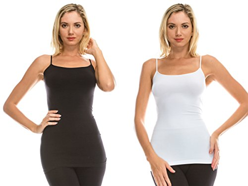 Kurve American Made Basic Seamless Cami - Made In USA- X-Small/Medium (One Size) Black-white