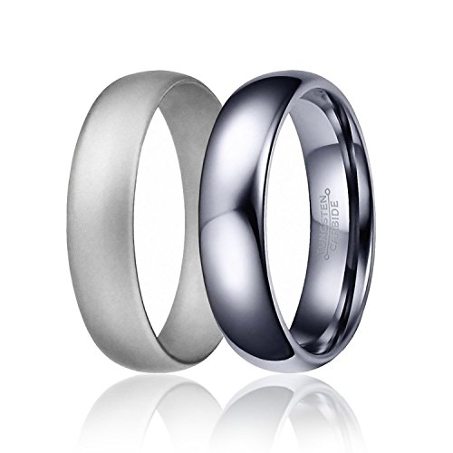 SOLEED Twins - Set of 2 - 1 Silver Tungsten Wedding Band and 1 Silver Silicone Rubber Wedding Ring For Men, 6mm, Classic Style, Comfort Fit, Size (Nickel Emerald Pearl)