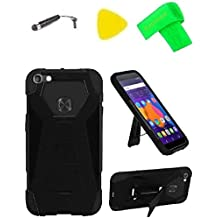 T-Stand Hybrid Cover Case Cell Phone Accessory + Extreme Band + Stylus Pen + Pry Tool For Alcatel Idol 5 6060C / Nitro 5 2017 (T-Stand Black Black)