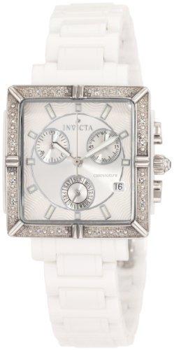 Invicta Women's 0719 Ceramic Chronograph Diamond Accented White Ceramic - Watch 16 Diamond Chronograph