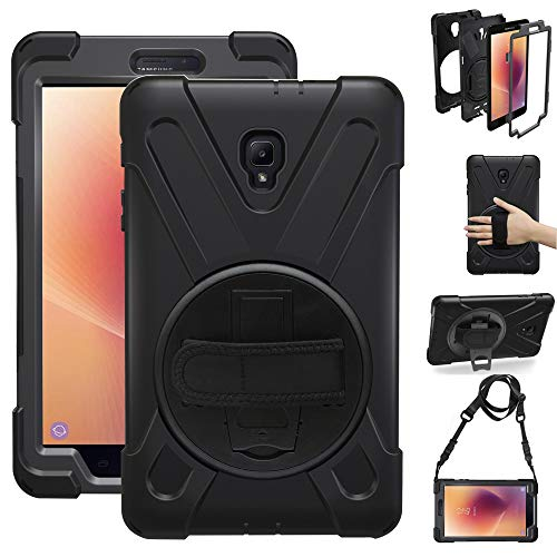 Gzerma for Samsung Galaxy Tab A 8.0 Case SM-T380 2017 (Not T387 2018), Child Proof Handle Shoulder Strap, Kickstand, Screen Protector, Heavy Duty Rugged Cover for Samsung Tab A 8.0 Inch Tablet, Black