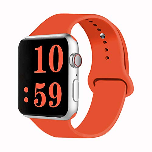VATI Sport Band Compatible with Watch Band 40mm 44mm 42mm 38mm, Soft Silicone Sport Strap Replacement Bands Compatible with 2018 Watch Series 4/3/2/1, 38MM 40MM S/M (Orange)
