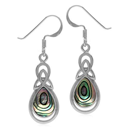 Silvershake Pear Shape Abalone Paua Shell Inlay 925 Sterling Silver Triquetra Celtic Knot Drop Dangle Earrings
