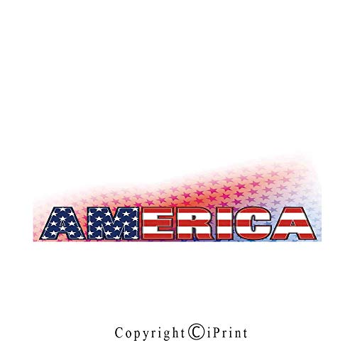 American Large Premium Quick Dry Cotton & Microfiber Bath Towel,USA Flag on America Stars Background Illustration Freedom Independence Liberty,for Travel Sports & Beach,W70.8 x L31.4 Red Blue White ()