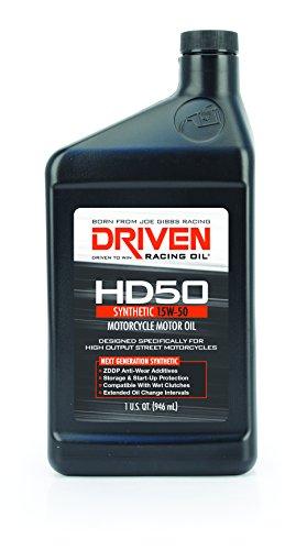 Driven Racing Oil 02706 HD50 High Zinc Motorcycle Oil (15w-50 Quart), 1 quart (Motorcycle Driven)