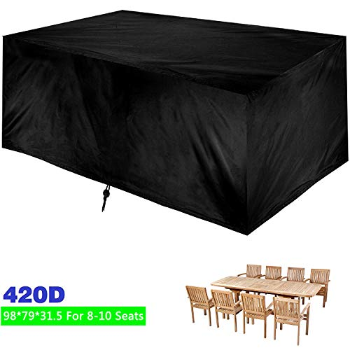 "Patio Table Cover Outdoor, 98"" x 79"" x 31.5"" Rectangular/Oval Garden Furniture Set Cover, Water and UV Resistant Outdoor Lawn Dining Table Chairs Protection"