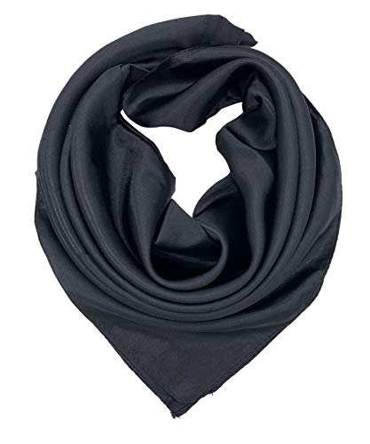- YOUR SMILE Pure Black Silk Feeling Scarf Women's Fashion Large Square Satin Headscarf (337)