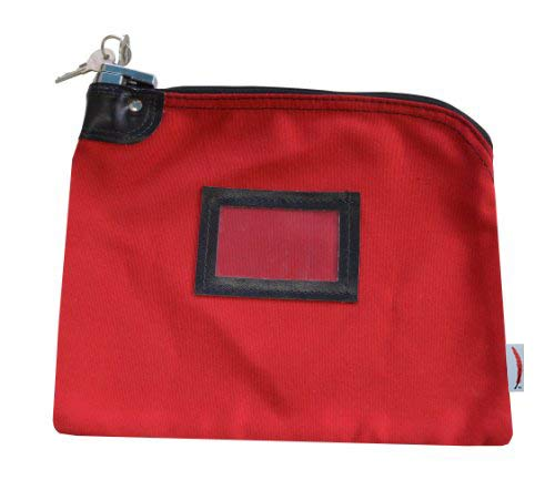 Locking Bank Bag Canvas Keyed Security (Red) ()