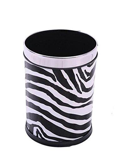 - MYtodo Creative 12L Straight Barrel Wastebasket lidless Hotel Bathroom Plastic Trash can (Zebra Pattern)