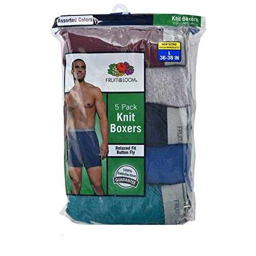 - Fruit of the Loom Men's 5-Pack Soft Stretch Knit Boxer - Colors May Vary (Medium, Assorted Color)