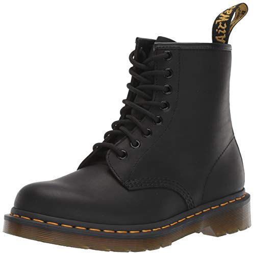 Mens Boots Martens Doc (Dr. Martens 1460 8 Eye Boot, Black Greasy, 10 UK/Men's 11, Women's 12 US)