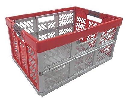 Profesional - Caja plegable TÜV certficado 45 L hasta 50 kg plata / rojo caja plegable