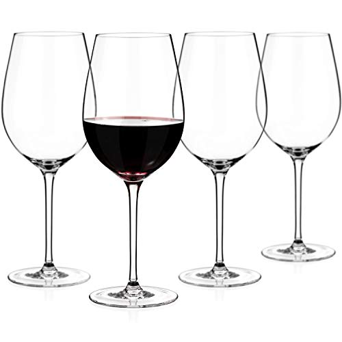 Luxbe - Crystal Wine Glasses 21.9-ounce, Set of 4 - Large Handcrafted Red or White Wine Glass - 100% Lead Free Crystal Glass - Professional Wine Tasting - Burgundy - Pinot Noir - Bordeaux - 650ml