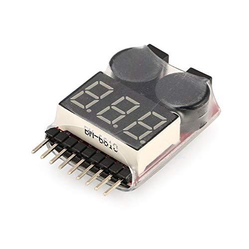 - Lipo Battery Voltage Tester Volt Meter Indicator Checker Dual Speaker 2in1 1 s-8 s Combination Low Voltage Buzzer Alarm