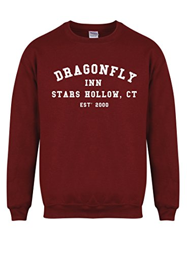 Dragonfly Inn Stars Hollow, CT, Est' 2000 - Maroon - Unisex Fit Sweater - Fun Slogan Jumper (Medium - Chest 38-40 inches, w/White)