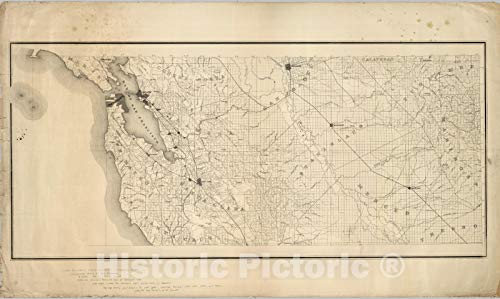 Historic Map | State Engineer's Map of Northern California, Northern California, San Francisco, Stanislaus Counties (sheet 9) 1884 | Vintage Wall Art | 40in x 24in