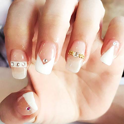 Drecode French False Nails Bling Rhinestone Full cover Square Fake Nails Wedding Birthday Party Clip on Nails for Women and Girls