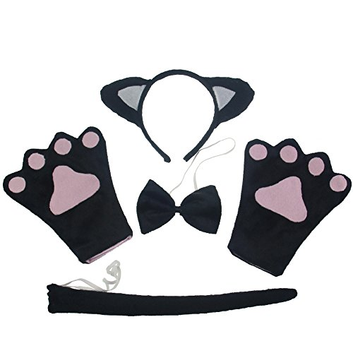 Hot Black Cat Costume (Rhumen 4pcs Cat Cosplay Fancy Costume / Cat Cosplay Set Ears Tail Collar Paws (Black))