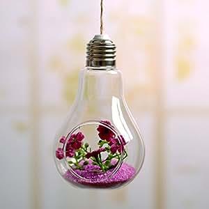 Qingsun bombilla forma de cristal jarrón Florero transparente colgante hidropónico contenedor decoración del hogar con cuerda de yute