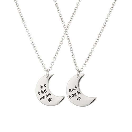 Lux To The Moon & Back BFF Star Valentine Heart Best Friends Forever Necklace Set (2 PC). (Bestfriend Costumes)