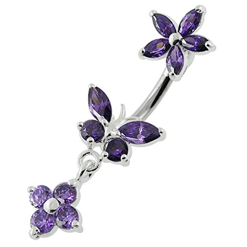 AtoZ Piercing Purple CZ Stone Butterfly with Flower Dangling 925 Sterling Silver Double Side Belly Button Ring Jewelry