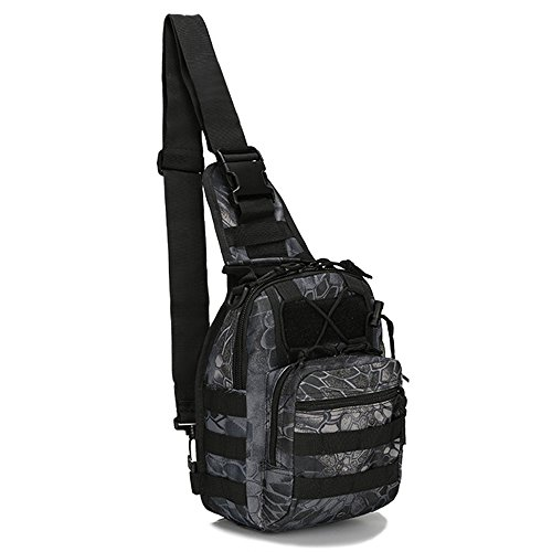 FANAMOUS Sling Backpack Tactical Bag Military Sport Bag Nylon Casual Sling Chest Pack Cross Body Back Pack Molle Bag over the Shoulder Day Pack Fanny Sack - How Clean Wet To Suit A