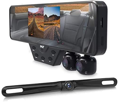Pyle Newest Technology HD 3 Camera Dash Cam Rearview Mirror Backup Camera Mirror Cam Front and Rear Recording Video Recording System Hd Camera Record Kit, 1080p Night Vision, Easy Install (PLCMDVR54)