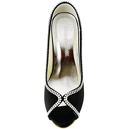 Elegantpark - Zapatos de Vestir de satén Mujer Negro