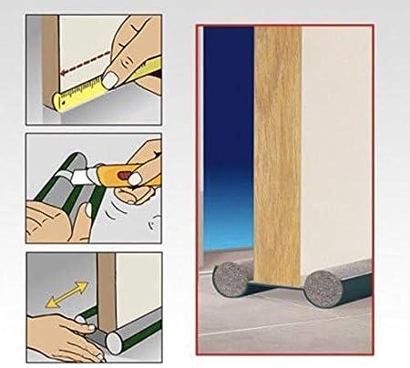 Burlete Puerta Espuma Bajopuerta 95 CM PACK 6 UDS,Bajo Puerta de espuma,Doble rollo aislante 6 paquetes BLANCO 6P