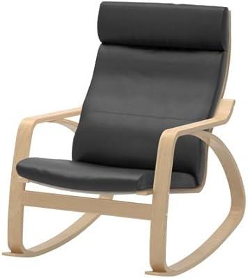 IKEA Rocking Chair Birch Veneer Frame Black Leather Cushion