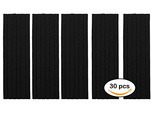 Charlotte 30Pcs Thin Elastic Headbands Sweatband for Men and Women No Metal Ouchless Hair Flat Narrow Headwrap (Standard 10 mm), Black) from Charlotte