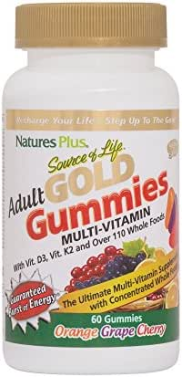 NaturesPlus Source of Life Gold Adult Multivitamin Gummies - 60 Whole Food Gummies - Complete Daily Vitamin Supplement - Free Radical Defense, Energy Support - Gluten-Free - 30 Total Servings