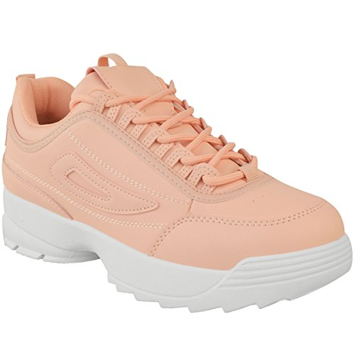 Fashion Thirsty Heelberry® Womens White Chunky Trainers Disruptor Sneakers Retro Black Shoes Gym Sport Pastel Pink / Peach Faux Leather VTAu7YC