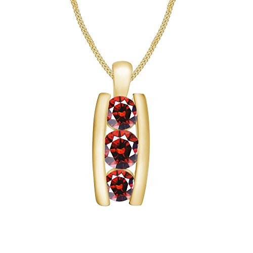 Pretty Jewellery 14K Yellow Gold Fn 925 Silver Red Garnet Channel Set Three Stone Journey Pendant
