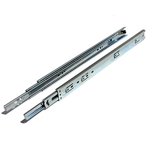 GlideRite Hardware 1435-ZC-5 14 Inch Side Mount 35mm Full Extension Drawer Slides with 1 Inch Over-Travel 5 Pack 14'' 1'', 70 lb, Silver by GlideRite Hardware