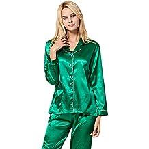 VlSl Womens Silk Satin Pajamas Set Sleepwear Loungewear Two-Piece Long Sleeve Pajama Set