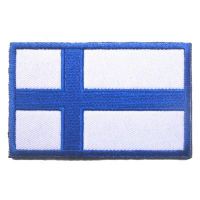 Backwoods Barnaby Finland Flag Patch with Hook & Loop/International Travel Military-Style Embroidered Patches (Finnish, 2 x 3)