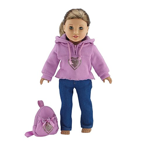 18 Inch Doll Clothes Heart Hoody Set - Fits American Girl Dolls Includes 18