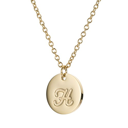 HUAN XUN Gold Stainless Steel Initial Necklace for Womens Letter H