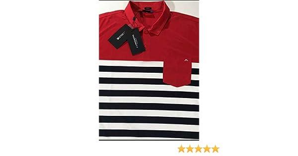 Hombres de J. Lindeberg Carl Slim TX Jersey Golf Polo, Rojo (Red ...