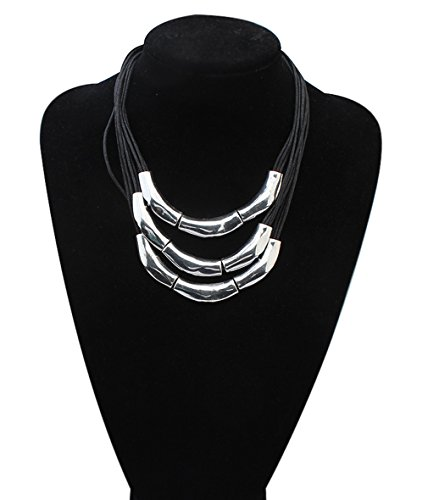 Large Costumes Jewelry Necklaces (Womens Multilayer Pendant Choker Necklace Strands Leather Cord Chain Gold Alloy)