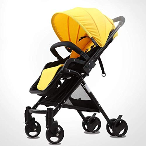 Zsail Baby Strollers High Landscape Foldable Pram Summer Pushchair A Key Off Car Stroller Baby Cart (Color : Yellow)