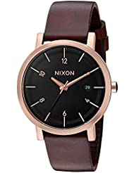 Nixon Mens Rollo 38 Quartz Stainless Steel and Leather Watch, Color:Brown (Model: A9841098)