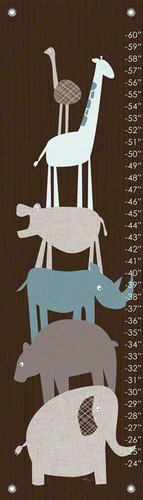 Oopsy Daisy Animal Pile Up Teal Vicky Barone Growth Charts, Brown, 12 x 42'' by Oopsy Daisy