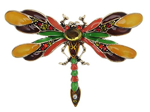 Alilang Design Colorful Enamel Dragonfly Red Green Insect Pin Brooch ()